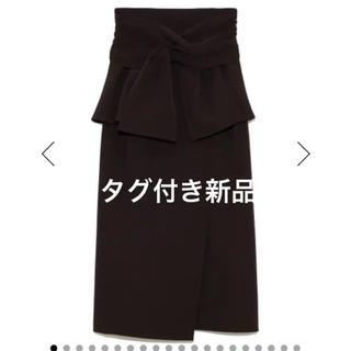 snidel - スナイデル リボンディテールポンチスカート  ブラック 黒 サイズ0