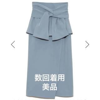 snidel - スナイデル リボンディテールポンチスカート サックス ブルー 青 サイズ1