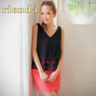 rienda - 美品!リエンダ 透け感が可愛いレース付きブラックラメトップス