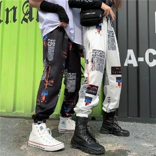 【新作☆男女兼用】ユニセックス ストリート系 スリム ジョガー パンツ ホワイト(その他)