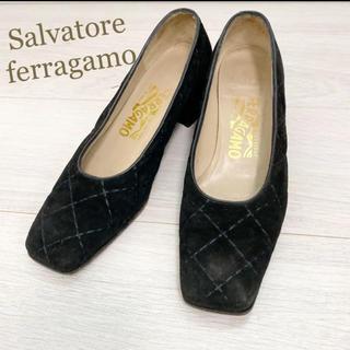Salvatore Ferragamo - フェラガモ  22.5 本革 イタリア製 ブラック パンプス ベロア