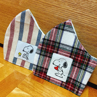 夏用 立体マスク インナーマスク マスクカバー スヌーピー 麻 2枚セット(その他)