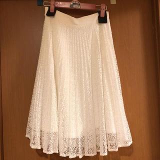 ナノユニバース(nano・universe)の美品♡ ナノユニバース プリーツ レーススカート Sサイズ 36 ホワイト(ひざ丈スカート)