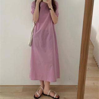 アメリヴィンテージ(Ameri VINTAGE)の最終セール☆韓国ファッション☆パフスリーブ☆パープル☆ワンピース☆エーランド(ひざ丈ワンピース)
