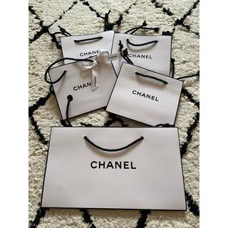 シャネル(CHANEL)のシャネル☆CHANELショップ袋小☆5枚セットリボン付新品(ショップ袋)