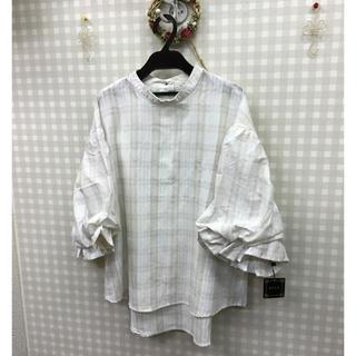 【新品】ボリュームスリーブコットンシャツM(シャツ/ブラウス(長袖/七分))