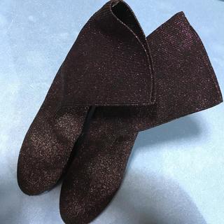 ソックスブーツ ラメ パープル Mサイズ(23〜23.5cm)(ブーツ)