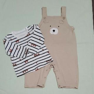 アカチャンホンポ - オーバーオール カバーオール + 長袖Tシャツ くま柄 70 男の子女の子