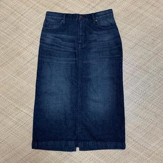 ムジルシリョウヒン(MUJI (無印良品))の無印良品 オーガニックコットンストレッチデニムスカート クロ⭐︎(ひざ丈スカート)