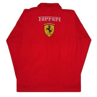 【送料無料】Ferrari F1 フェラーリ 長袖ポロシャツ 赤 Mサイズ(ポロシャツ)