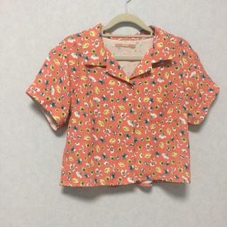 ダズリン(dazzlin)のdazzlin ダズリン ミニ丈 シャツ 花柄 ブラウス オレンジ ピンク(Tシャツ(半袖/袖なし))