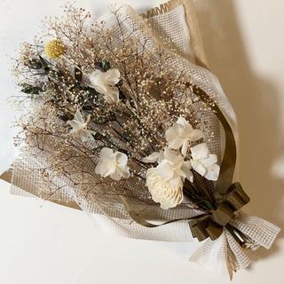 ブラウン大きめスワッグ かすみ草 紫陽花 プリザーブドドライフラワー(プリザーブドフラワー)
