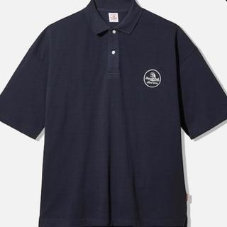 ジーユー(GU)のGU STUDIOSEVEN ビッグポロ (5分袖) ネイビー M サイズ(ポロシャツ)