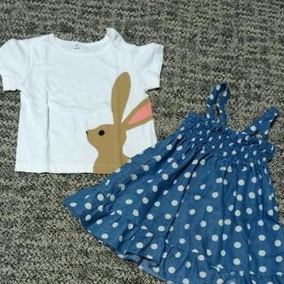ムジルシリョウヒン(MUJI (無印良品))の女の子 80-90cm Tシャツ&ワンピースセット 無印良品 ドット柄ワンピース(Tシャツ)