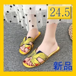 【24.5】派手カワ*イエロー*ぺたんこ サンダル 0810(サンダル)