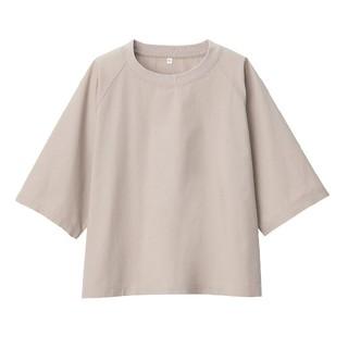 MUJI (無印良品) - ★新品★無印良品インド綿洗いざらし布帛五分袖Tシャツ /M~L/ペールブラウン