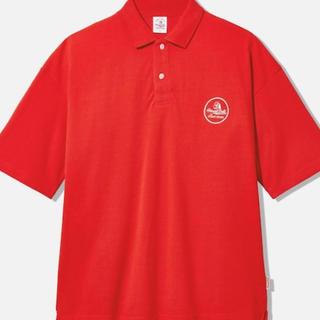 ジーユー(GU)のGU STUDIOSEVEN ビッグポロ (5分袖) レッド L サイズ(ポロシャツ)