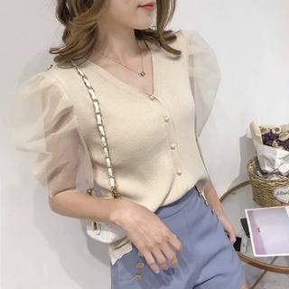 ディーホリック(dholic)の韓国ファッション シースルー半袖シャツニット Vネックシャツ ベージュ(ニット/セーター)