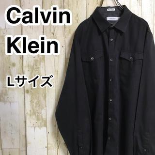 カルバンクライン(Calvin Klein)のカルバンクライン 長袖シャツ L ブラック ゆるダボ ダブルポケット ネームタグ(シャツ)