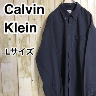 カルバンクライン(Calvin Klein)のカルバンクライン 長袖シャツ L ネイビー チェック ネームタグ(シャツ)