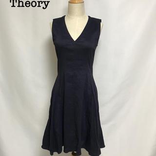 theory - Theory 2016SS リネン混 ワンピース  セオリー ネイビー 2