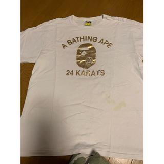 A BATHING APE - BAPE×24Karats コラボ カレッジロゴTシャツ XL EXILE 白金
