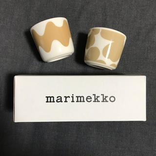 マリメッコ(marimekko)のマリメッコ  ラテマグ ウニッコ ロッキ ベージュ 新品 2個セット(グラス/カップ)