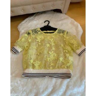 リリーブラウン(Lily Brown)のリリーブラウン フラワー刺繍トップス イエロー(Tシャツ(半袖/袖なし))