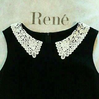 ルネ(René)の★新品★Rene★ 今期オンライン限定白襟レースドレス34(ひざ丈ワンピース)