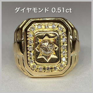 K18 印台リング ダイヤモンド 0.51ct YG(リング(指輪))