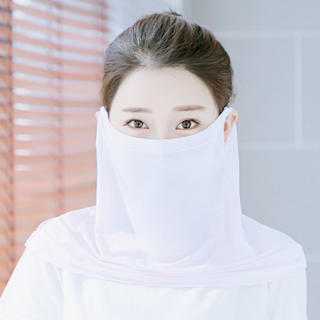 UVカットマスク フェイスカバーネックウォマー 日焼け防止 冷感 速乾 白い