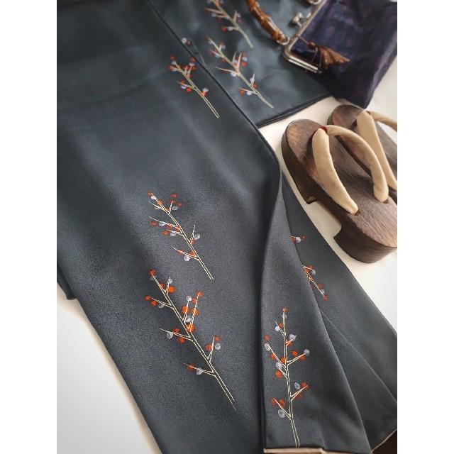 【週末セール】北欧ファブリックのような柄の飛び柄小紋 袷 着物 正絹 レディースの水着/浴衣(着物)の商品写真