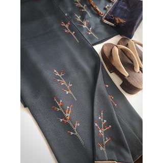 北欧ファブリックのような柄の飛び柄小紋 袷 着物 正絹