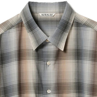 COMOLI - AURALEE SUPERLIGHT WOOL CHECK SHIRTS