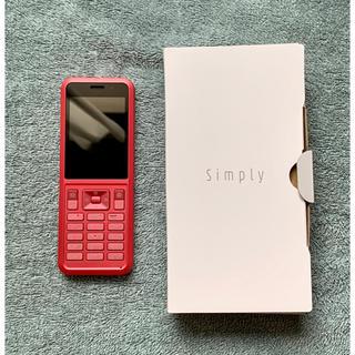 ソフトバンク(Softbank)の◆即日発送◆新品同様◆ SIMロック解除済 602SI Simply レッド(携帯電話本体)