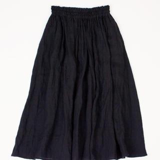 nest Robe - ☆匿名発送☆ 美品 ネストローブ リネンシャーリングスカート ブラック♡