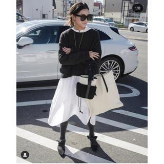 Drawer - ドゥロワー コットンノーカラーホワイトシャツドレス