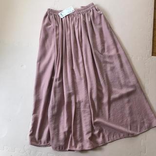 ユニクロ(UNIQLO)のユニクロ  新品未使用タグつき ドレープギャザーロングスカート  ピンク M(ロングスカート)