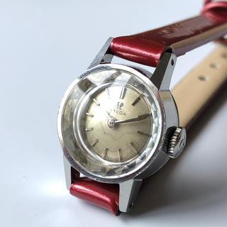 オメガ(OMEGA)の【OH済/1963年製】OMEGAオメガ カットガラス レザーベルト 手巻腕時計(腕時計)
