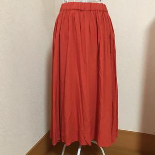 新品未使用 ビビットオレンジ ウエストゴムロングスカート(ロングスカート)