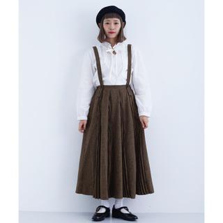 merlot - メルロー サスペンダー付き千鳥格子柄プリーツラインスカート