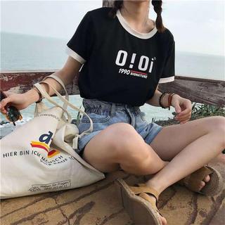 ❤️激安セール❤️ OIOI プリント ロゴTシャツ オルチャン系 ブラック