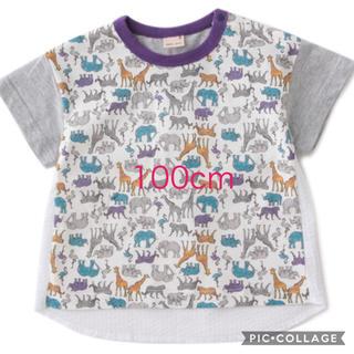 petit main - 新品タグ付き プティマイン(petit main)動物総柄切り替えTシャツ
