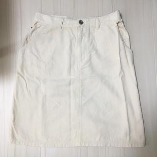 パーリッシィ(PAR ICI)の美品◎PAR ICI コーデュロイ スカート 白(ひざ丈スカート)
