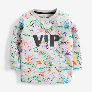 ネクスト(NEXT)の【新品】next グレー 長袖スプラット柄Tシャツ(ヤンガー)(Tシャツ)