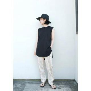 デミルクスビームス(Demi-Luxe BEAMS)のATON / スビン ラウンドヘム タンクトップ ブラック(Tシャツ(半袖/袖なし))