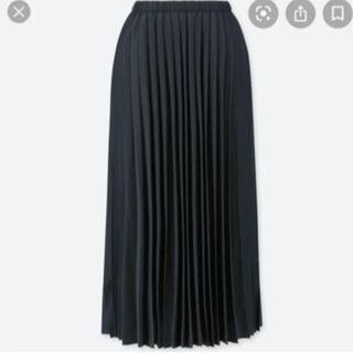 ユニクロ(UNIQLO)のユニクロ プリーツロングスカート Mサイズ ネイビー ●送料込みメルカリ便(ロングスカート)