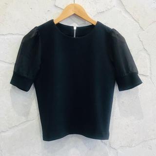 マウジー(moussy)の新品 moussy マウジー シースルー カットソー ブラック ブラウス(シャツ/ブラウス(半袖/袖なし))