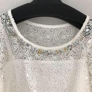 チェスティ(Chesty)のビジュートップス オーガンジーフラワートップス フラワーレーストップス(Tシャツ(半袖/袖なし))
