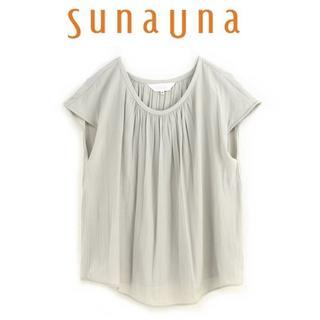スーナウーナ(SunaUna)のL-新品 sunauna スーナウーナ パウダーサテンフレンチブラウス(シャツ/ブラウス(半袖/袖なし))
